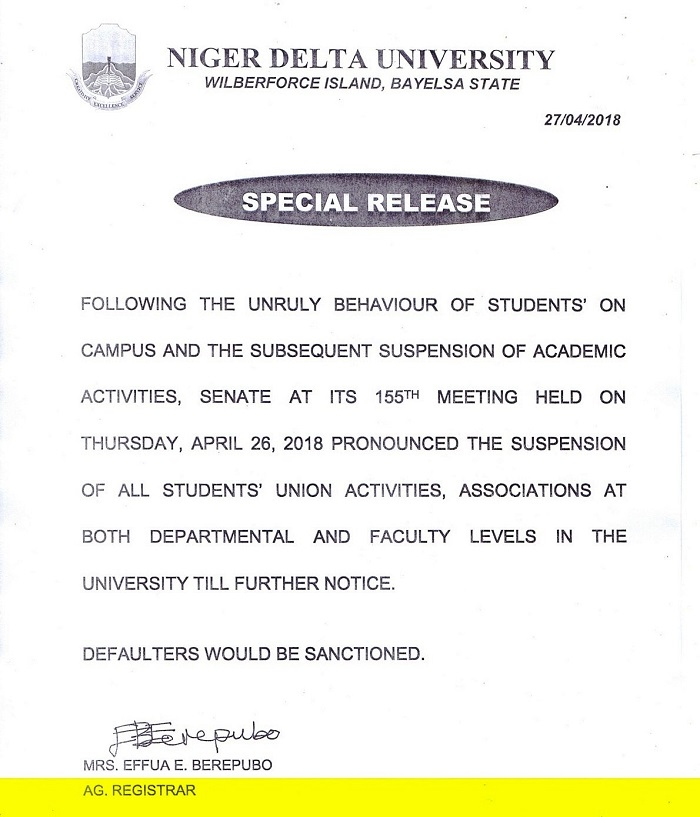 Niger Delta University Suspends All Students' Union Activities